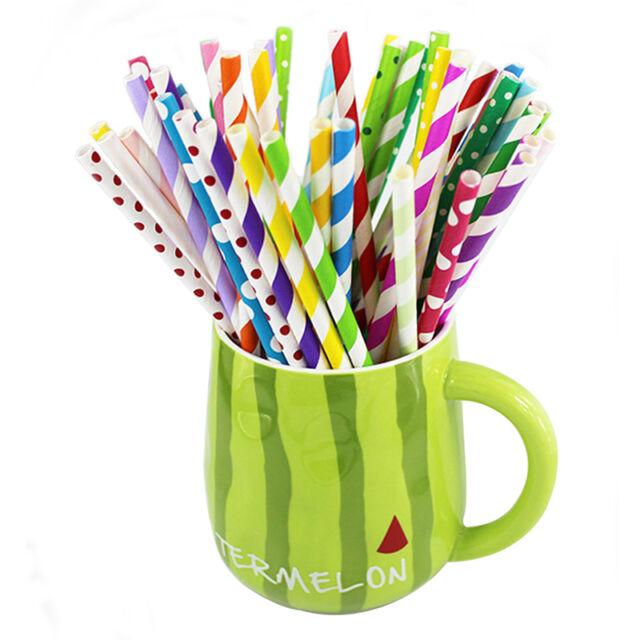 25pcs Mix Rainbow Paper Drinking Straws Vintage Stripe Polka Dot Party Wedding