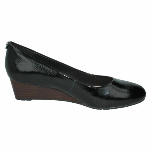 Ladies Black Patent Leather Clarks Slip On Wedge Shoes Vendra Bloom