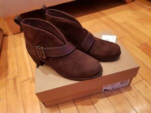 ee6db3e64bc Details about New Womens Ugg Wright Belted Brown Suede Leather Ankle Boots  Shoes 5 UK