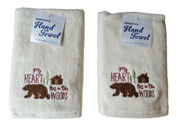 COW IN THE BARN YARD SET OF 2 BATH HAND TOWELS EMBROIDERED BY LAURA
