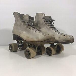 Chicago Skate Co Vintage Roller Skates Wood Wheels U S A White Leather Ebay