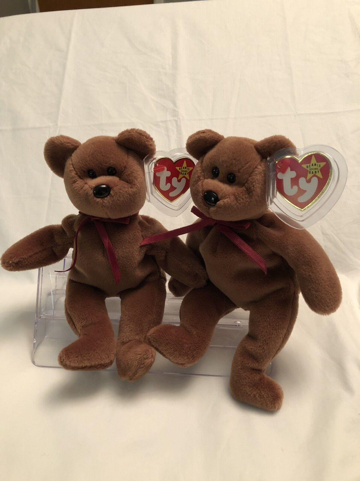 2 Ty Beanie Baby  TEDDY  The Bear Style 4050 - PVC TAG ERROR 1993 1995 - RETIRED