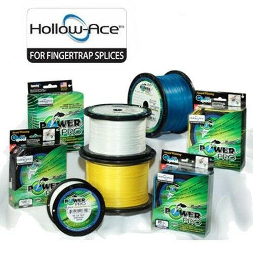 PowerPro Hollow Ace Braid Fishing Line 60lb Test 500yd HiVis giallo Hollow Core