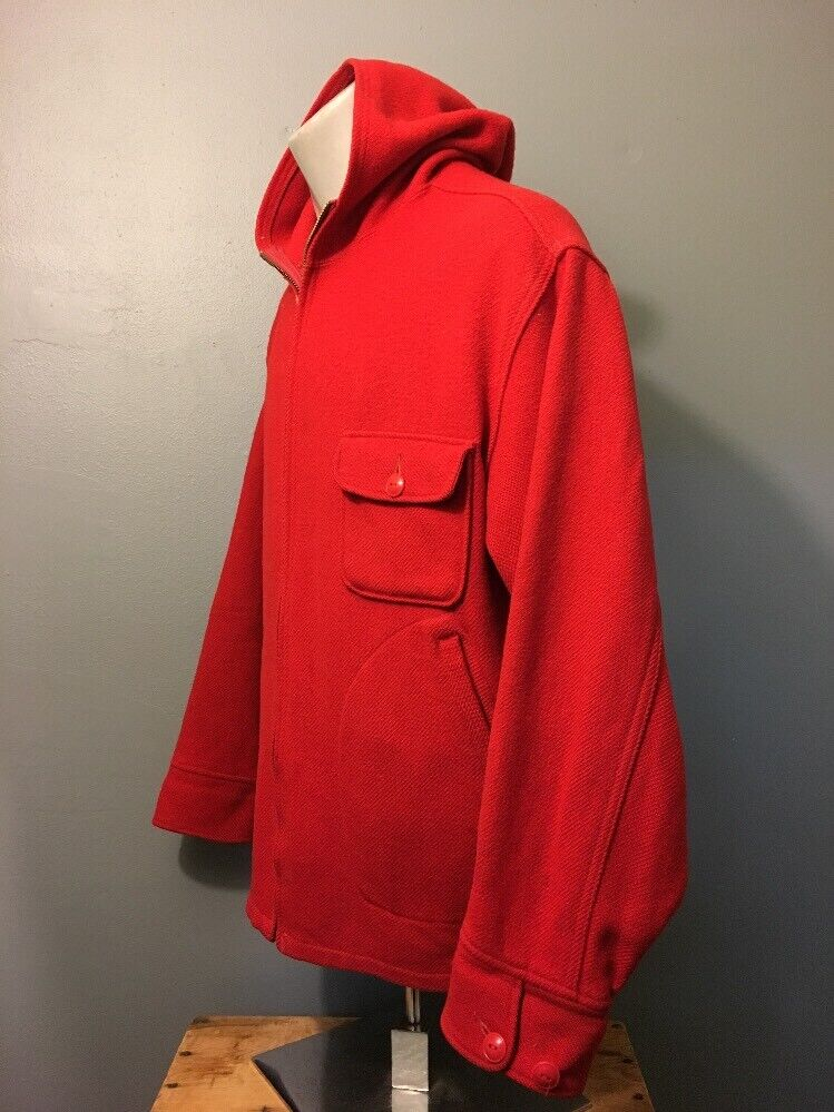 Vintage 40s 50s Woolrich Red Wool Hunting Zip-Up … - image 3