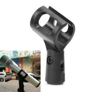 Flexible-Microphone-Mic-Stand-Accessory-Plastic-Clamp-Clip-Holder-Mount-Black-zx
