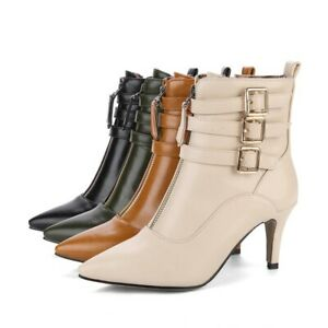 Ladies Shoes Synthetic Leather High Heels Buckle Zip Up Ankle Boots US Size b680