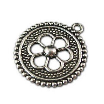 25pcs Tibetan silver hollow flower round charm FC11033
