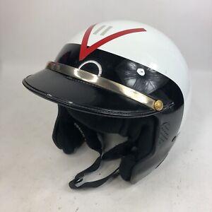 Adult-7-5-8-Bell-Tracker-Snell-Approved-DOT-Open-Face-Sun-Visor-Helmet-White-Red