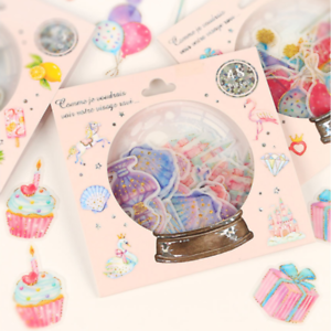 48pcs/pack Crystal Ball Cat Candy Stickers Stationery DIY