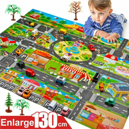 Kids Home Traffic Road Signs Car City Scene Educational Play Mat Toy