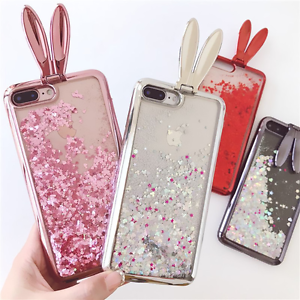 hot sale online f8c61 e5787 Details about Bunny Ear Kickstand Liquid Waterfall Bling Glitter Soft Case  Cover For iPhone