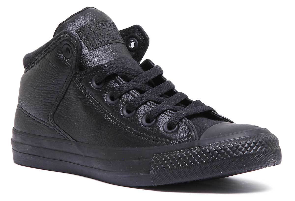Converse Chuck Taylor All Star High Street Women Leather Black Trainers Sizes 3