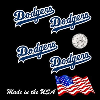 Four 4 Los Angeles Dodgers Baseball Team Decal Stickers