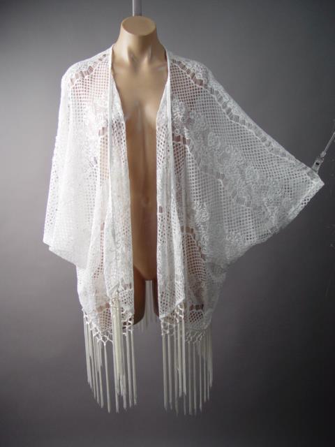 White Sheer Crochet Doily Lace Boho Fringe Kimono Wrap Robe 147 mv Jacket S M L