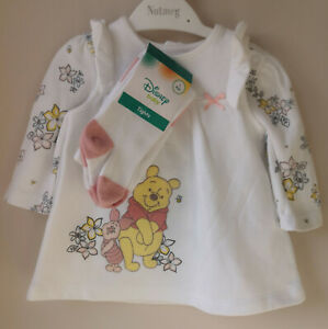 Top /& Tights Outfit Set NEW Baby Girls Disney Winnie The Pooh Pinafore Dress