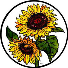 STAINED GLASS WINDOW ART - STATIC CLING  DECORATION - SUNFLOWERS