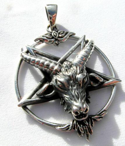 Sterling Silver 925 Pentagram  With  Horned  Beast  Pendant  ! New  !!