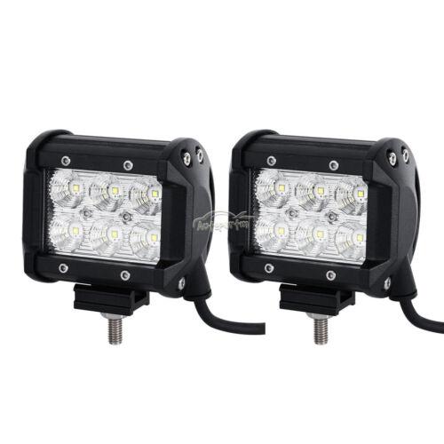 """2x 4/"""" 18W CREE LED Work Light Bar FLOOD+Mount Bracket Fit For Jeep Wrangler JK"""