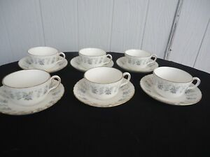 vintage-minton-tea-set-alpine-spring-bone-china-england-6-cups-amp-saucers