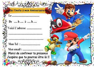Détails Sur 5 Cartes Invitation Anniversaire Super Mario Odyssey N 33 Jeu Vidéo