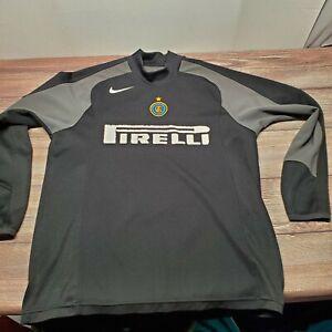 NIKE-Inter-Milan-Mens-Size-Large-Long-Sleeve-Soccer-Jersey-Black-Pirelli