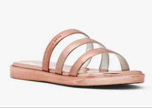 Michael-Kors-KEIKO-Metallic-SLIDE-SANDALS-Shoes-ROSE-GOLD-Size-8-New-In-Box
