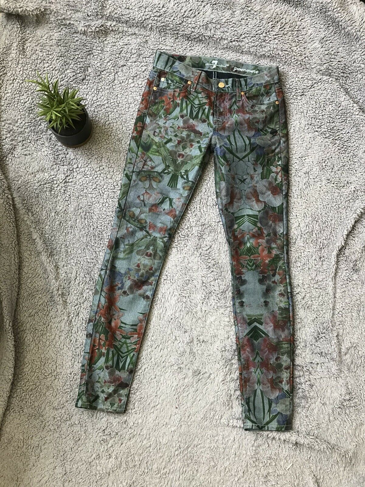 7 For All Mankind Women's Gwenevere Dark Floral Print Super Skinny Jeans Cotton