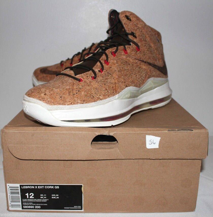 Nike Air Lebron X 10 EXT Cork Classic Brown White  Uomo Size 12 New