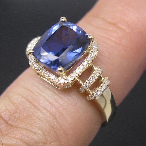 14KT Yellow Gold 1.60 Carat Natural Blue Tanzanite EGL Certified Diamond Ring