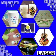 """PREMIUM LASER CLEAR WATERSLIDE DECAL PAPER 8.5/"""" x 11/"""" 10 Sheets"""