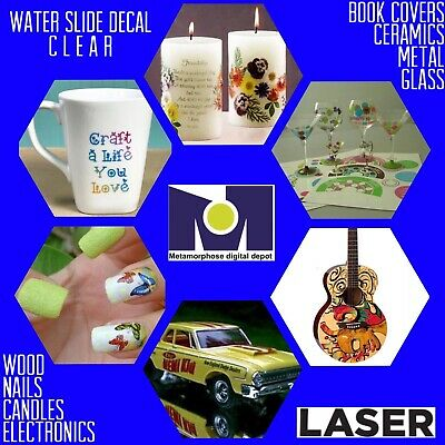 25 SHEETS CLEAR WATER SLIDE DECAL TRANSFER PAPER FOR LASER PRINTERS A4 SIZE