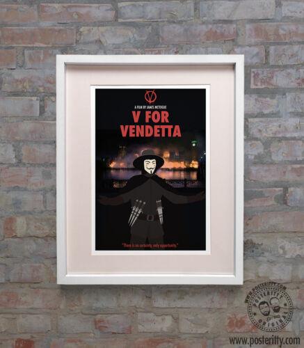V FOR VENDETTA Minimalist Movie Poster Posteritty Minimal Wall Art Guy Fawkes
