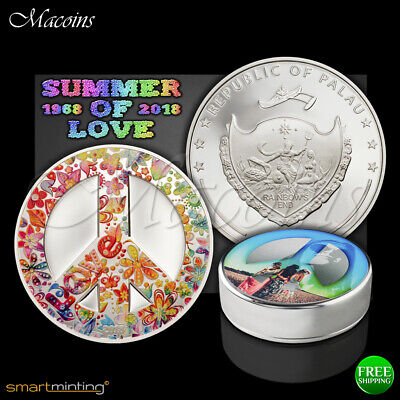 Palau 2018 Summer of Love 5 Dollars 1oz Silver Coin,Proof