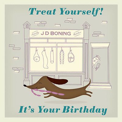 dotcomgiftshop SAUSAGE DOG BIRTHDAY CARD