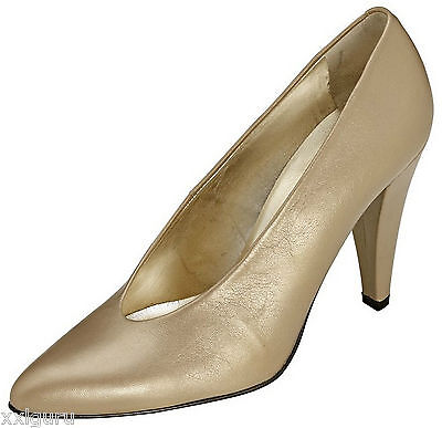 Patrizia Dini Pumps 37 LEDER Gold Spain High Heels Heine Edel Damen Schuh NEU