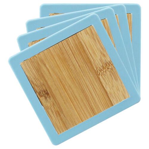 Lot de 4 Bleu Silicone Grip Bordure Square Bamboo coasters mats boissons Eco Friendly