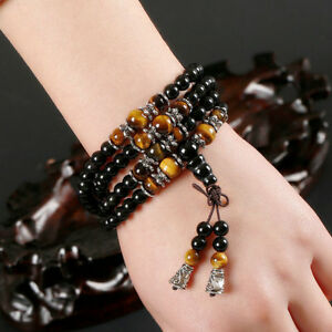 Natural-Black-Obsidian-Onyx-Red-Agate-108-pic-Stones-Women-039-s-Bead-Bracelet-T49