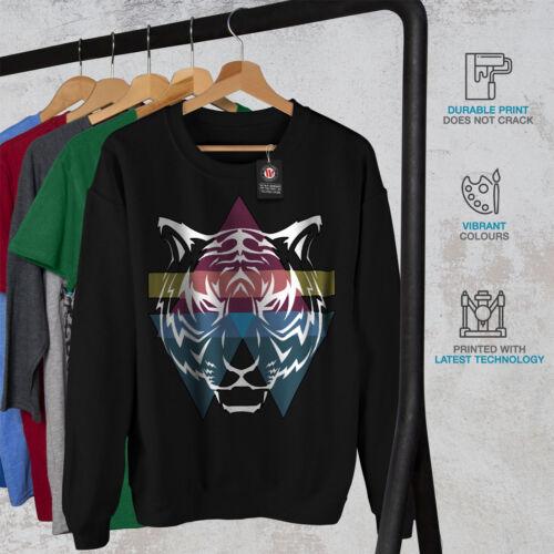 Colorful Casual Pullover Jumper Wellcoda Tiger Ornament Mens Sweatshirt