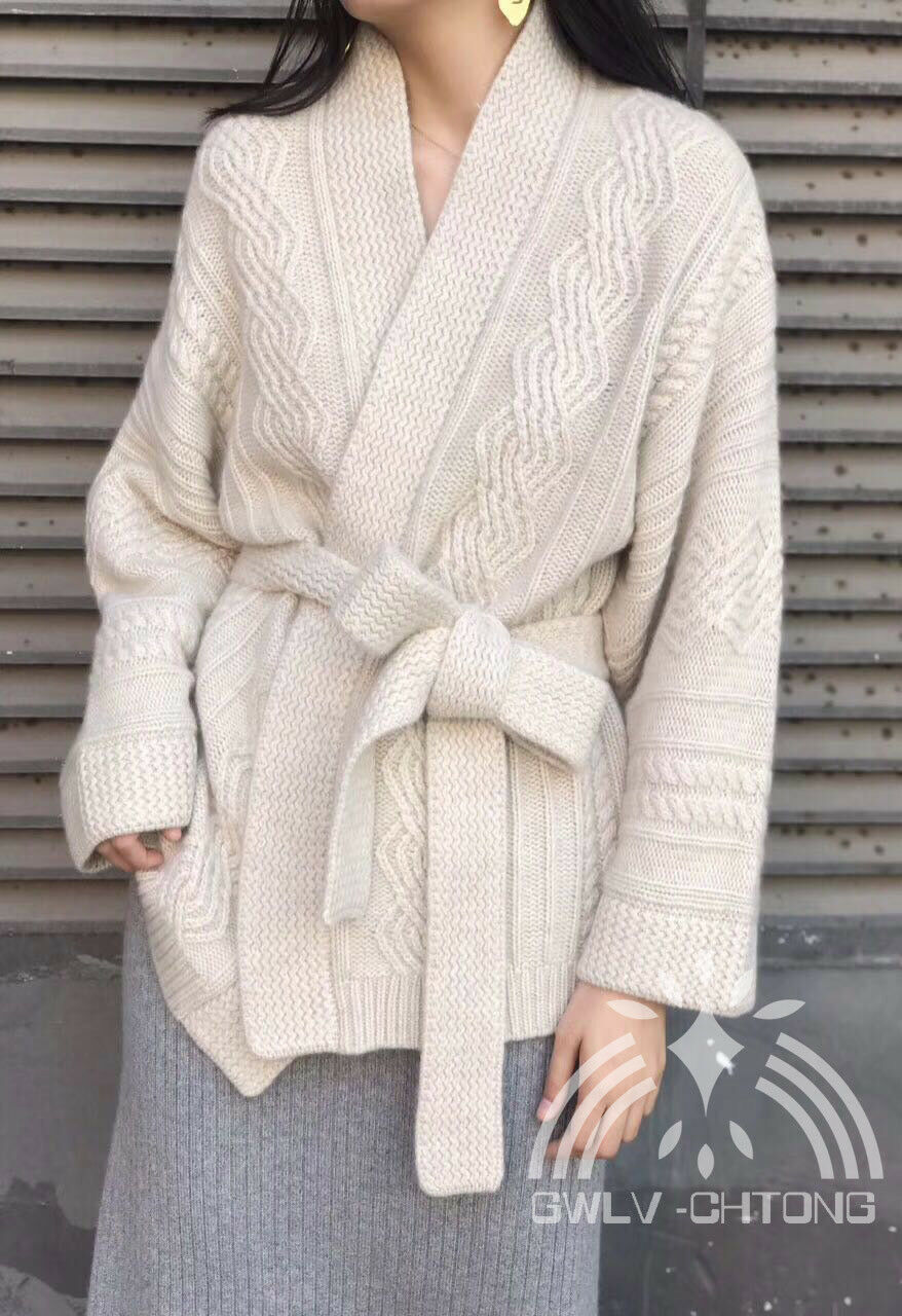 Knitted cashmere sweater women loose style  fashion knit cardigans with belt
