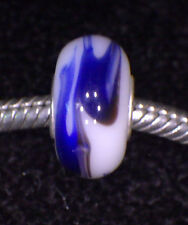 UNBRAND 925 Sterling Silver SHADES OF BLUE WHITE MURANO Glass Bead Europe Charm