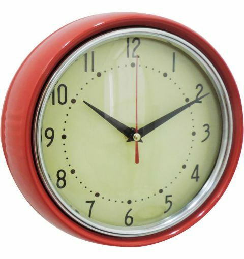 Retro Metal Wall Clock, Shiny Red