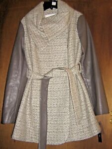 Tahari Tweed Mink S Plather Macram Trench Alba Coat Womens Small Nwts Gray d8axqnRdX