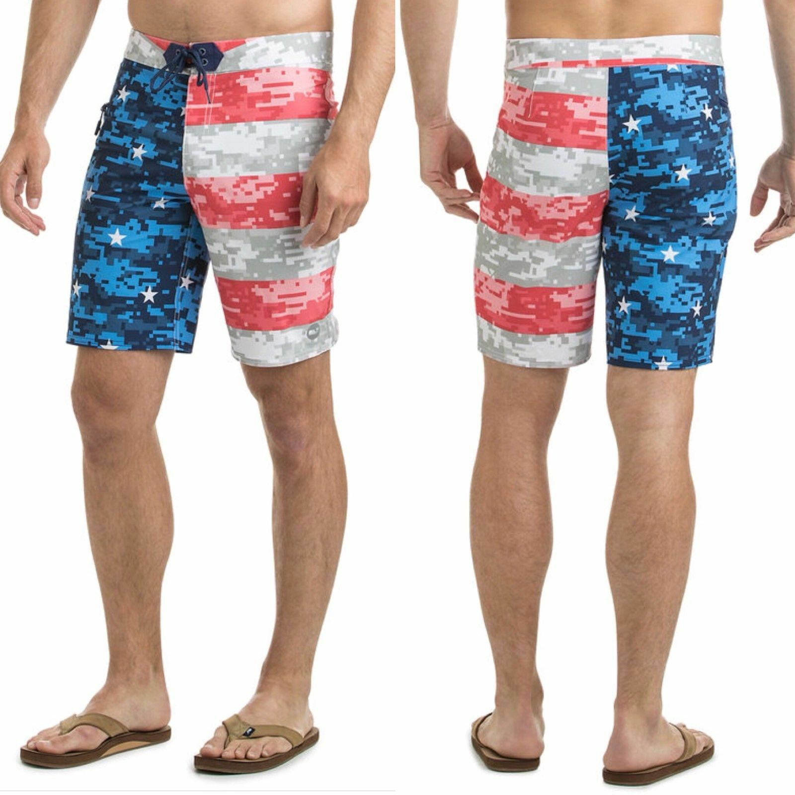 """NWT Vineyard Vines Mens 42"""" Board Shorts Swim Suit Stars and Bars Flag Red bluee"""