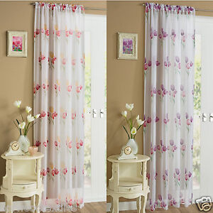 Image Is Loading Tulip Flower Floral Voile Slot Top Net Curtain