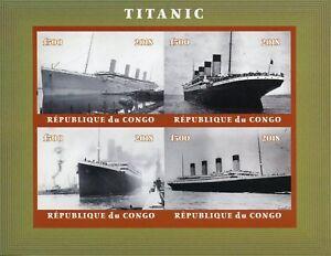 Congo 2018 MNH Titanic 4v IMPF M/S II Ships Boats Nautical Stamps