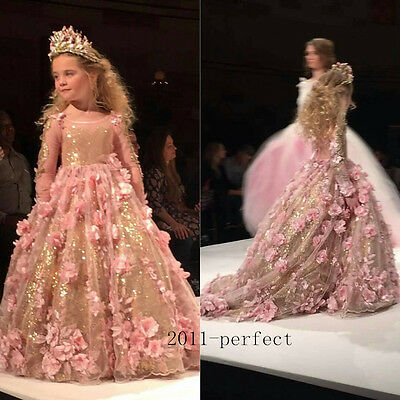 2017 Luxury Princess Flower Girl Dress Tutu Formal Party Wedding Pageant Gown