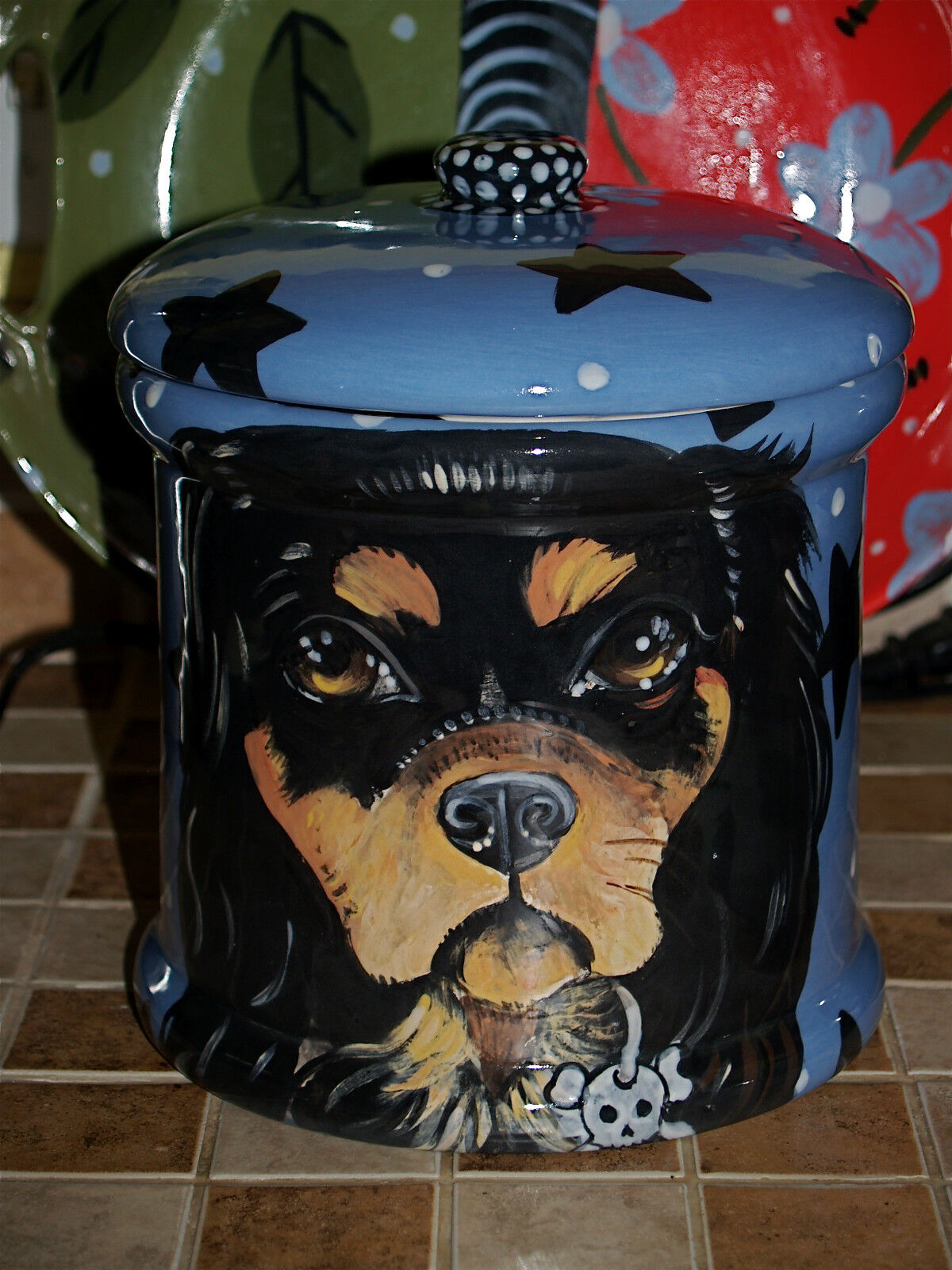 Tattoo DOG CANISTER Spaniel LARGE Cookie Jar king Charles any breed cavalier