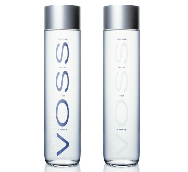 2 Empty Voss 800 ML Glass Bottles from Norway - With Sealing Lid