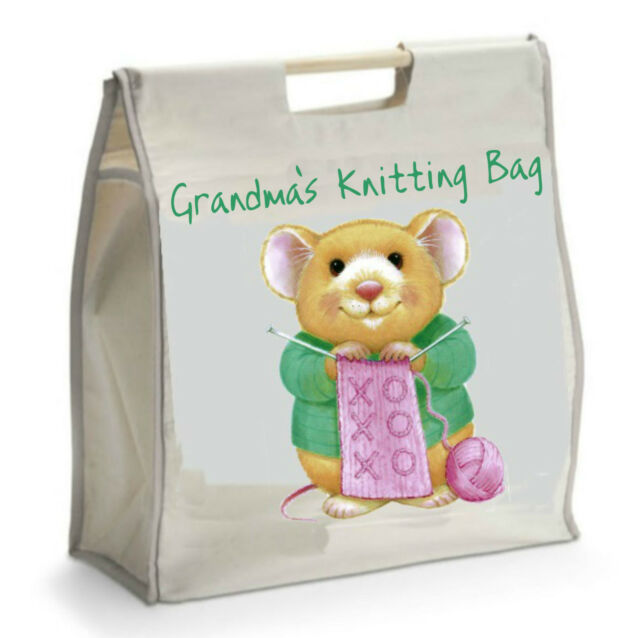 Personalised Knitting Bag with Black Handles - Ideal GIFT for Mother's Day Xmas