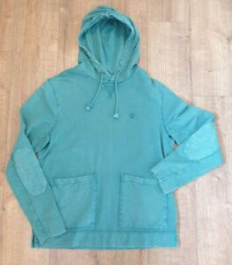Fat-Face-jade-green-hooded-sweatshirt-size-M-L-XL-front-pockets-elbow-patches